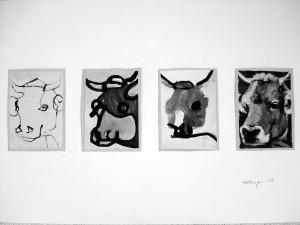 """La Vache"", 08, 16 x 11,5 cm, Acryl auf Pk."