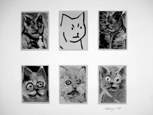 """""""Le Chat"""", 08, a 16 x 11,5 cm, Acryl auf Pk."""