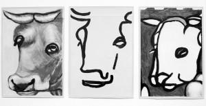 """""""La Vache e Le Mouton"""", 08, 21 x 29,5 cm, Acryl auf Pk."""