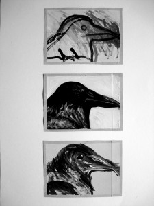 """La Corneille 08, 18 x 13 cm, Acryl auf Pk."