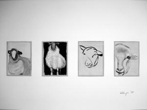 """""""Le mouton 1, a 16 x 11,5 cm, Acryl auf Pk."""