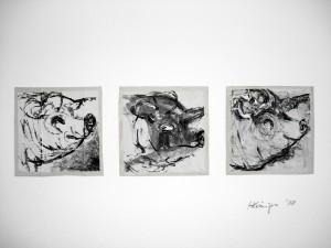 """""""Le Porc"""", 08, 12 x 12 cm, Acryl auf Pk."""