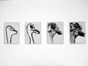 """""""L' autruche"""", 08, 16 x 11,5 cm, Acryl auf Pk."""