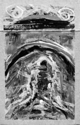 """Venedig"", Gebäudeminiatur 4, '09, 5,5 x 8,5 cm, Acryl auf Pk."